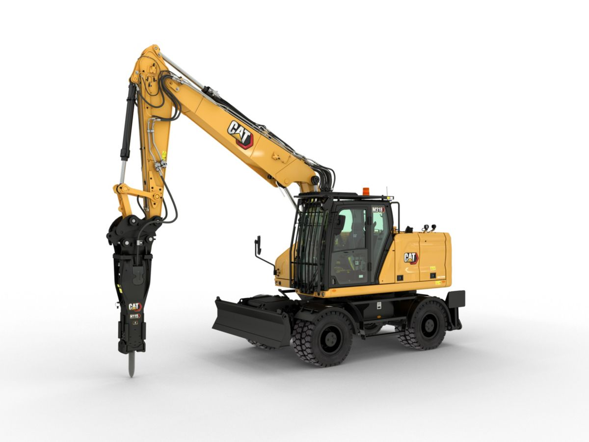 M318 Wheeled Excavator Equipped with a Hammer